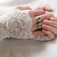 Lace Fingerless Gloves cream off white Bridal by Sew4Munchkins
