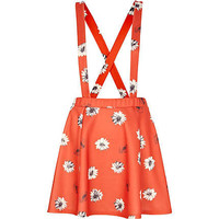 Red daisy print dungaree skater skirt - skirts - sale - women