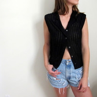 Vintage See Through Blouse Shirt Top Womens Black Lace Nylon Tank Sleeveless Button Up Down
