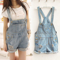 Women Girsl Washed Jeans Denim Casual Hole Jumpsuit Romper Overall Short Qok