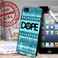 Dope Logo with chevron design print - black case - for iPhone 4 / 4s