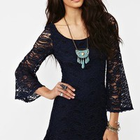 Paisley Lace Dress - Midnight Blue in  Clothes at Nasty Gal