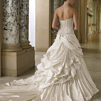 Stunning strapless Wedding Dress with lace up bodice, delicate embroidery, layered skirt and train