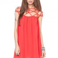 Etoile Chiffon Dress in Coral - ShopSosie.com