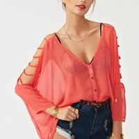 Cutout Chiffon Top - Coral in  Clothes at Nasty Gal