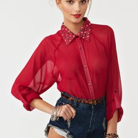 Studded Chiffon Blouse in  Clothes at Nasty Gal