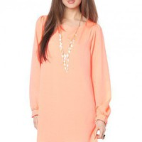 Solid Shift Dress in Neon Orange - ShopSosie.com