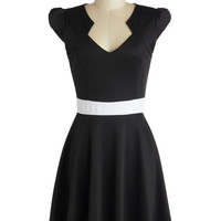 ModCloth Mid-length Cap Sleeves A-line The Story of Citrus Dress in Black