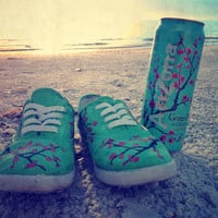 Arizona Green Tea Cherry Blossom Painted Shoes