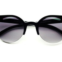 Round Cat Eye Sunglasses C122 Black