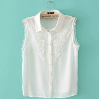 Crochet Lace Blouse with Collar for Summer