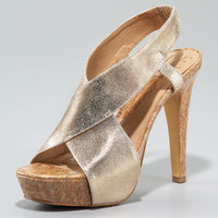 Diane von Furstenberg Zia Metallic Cork Sandal - Neiman Marcus