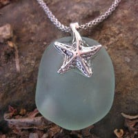 Dainty aqua seaglass starfish pendant perfect for the beach | montereybayseaglass - Jewelry on ArtFire