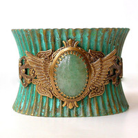 Wide Cuff Bracelet - verdigris patina corset pleated bracelet  by LeBoudoirNoir on Etsy