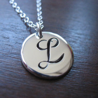 L Initial Silver Pendant Necklace by GorjessJewellery on Etsy