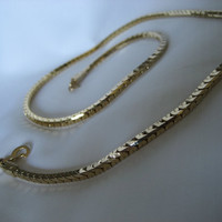 Vintage 18K Gold Filled Ribbed Link Necklace