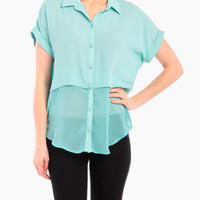 Illusion Cropped Top in Sea Foam