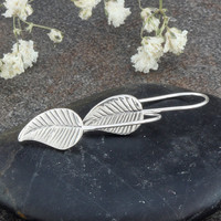 Sterling Silver Leaf Drop Earrings by ABDesigns on Etsy