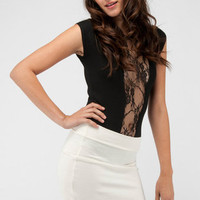 Laced Short Sleeve Bodysuit in Black :: tobi