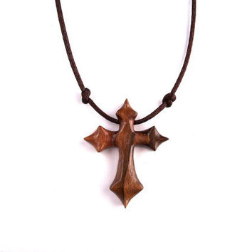 Wooden Cross Pendant, Hand Carved Cross, from GatewayAlpha