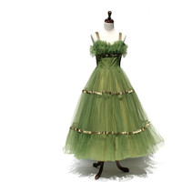 vintage moss green strap tulle cocktail dress by myfavoritevintage