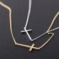sideways cross necklacesilver by bythecoco on Etsy
