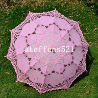 30&quot; pink lace parasol umbrella
