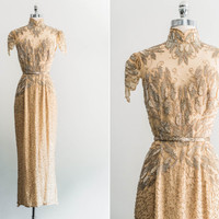 RESERVED NEW LISTING 1980's Silk Beaded Decadent Gold Dress