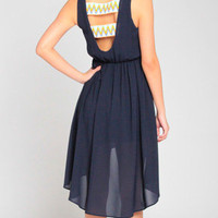 Native Stitched Asymmetrical Chiffon Dress in Navy