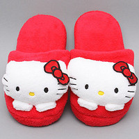 The Hello Kitty Plush Slip-On Slippers in Red by Hello Kitty Intimates