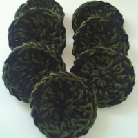 "Set of 7 - 3 1/2"" Crocheted Dish Scrubbers- Black & Deep Forest Green"