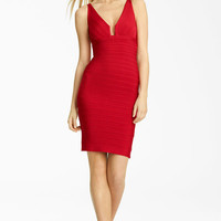Herve Leger Notch Neck Bandage Dress