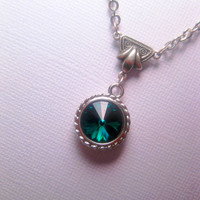 Emerald Jewel Swarovski Element Pendant Necklace