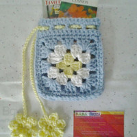 Crocheted Light Blue,White, & Yellow Granny Square Gift Bag With Seed Packet