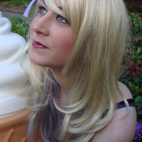 Lavender Blond Wig with removable Bow hair clip by BubbasBoutique