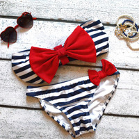 RESTOCK Sailor's Girl Navy Striped Red Bow Bandeau Bikini