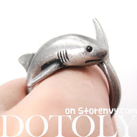 Shark Sea Animal Realistic Wrap Ring in Silver Sizes 5 to 10 | DOTOLY