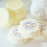 100 BRIDAL SHOWER Thank You Custom Wrapped Soap Favors - choose color & scent, personalized label, bulk, guest, wedding, packaged, round