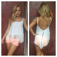 White Fringe Low Back Tank