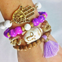 Purple and White Boho Bracelet Stack- Arm Candy with Hamsa, Buddha and Tassel Bracelet
