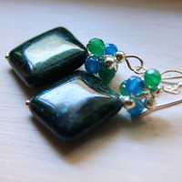 The Amazon earrings - Chrysocolla, silver and onyx