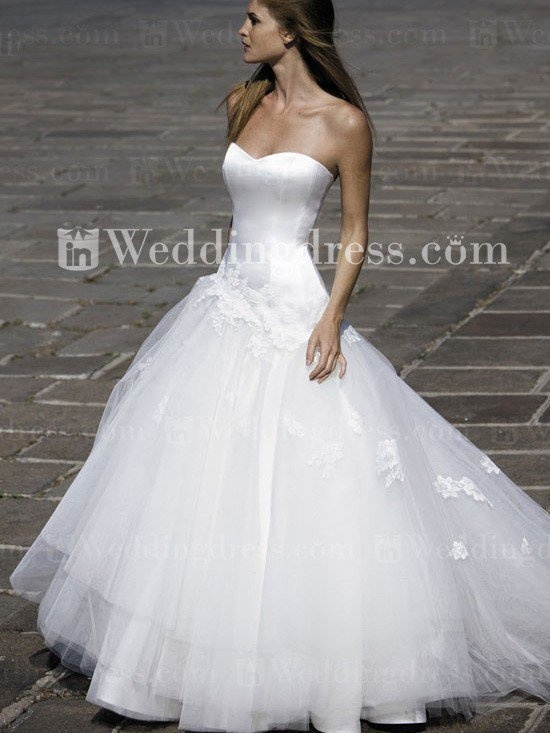 Strapless Satin Tulle Dropped Waist Ball From In Wedding Dress