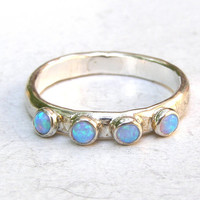 Blue Opal stacking ring  gemstone fine silver  ring by OritNaar