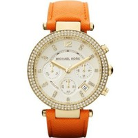 Michael Kors Women's Chronograph Parker Orange Leather Strap Watch MK2279