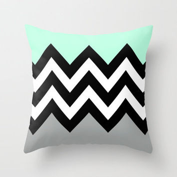 DOUBLE COLORBLOCK CHEVRON {MINT/BLACK/GRAY} Throw Pillow by Natalie Sales