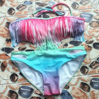 Srxy Womens Gradient Tassel Bikini Sets