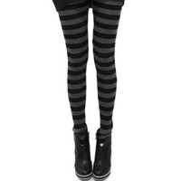 LOCOMO Women Horizontal Stripes Striped Ankle Length Footless Legging Tregging Tight Pant Skinny Slim FFT030 One Size Black & Gray