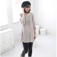 Japanese Design with Lace Embellished Long Sleeves Loose Blouse Light Chocolate