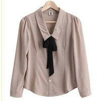 Pure Color with Tie Embellished Soft Long Sleeves Blouse Chocolate