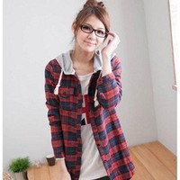 Preppy Style Hooded Embellished Thicken Grid Long Sleeves Blouse Red